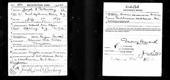 George De Barbiery Draft card